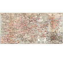Vintage Map of Stuttgart Germany (1909) Photographic Print