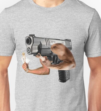 A gun holding two Marilyn Monroes Unisex T-Shirt