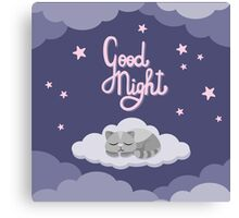 Good night with kitten Canvas Print