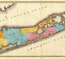 Vintage Map of Suffolk New York (1829) by BravuraMedia