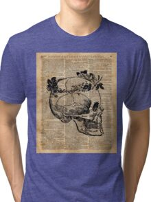 Skull in Floral Wreath Ink Drawing Dictionary Art Tri-blend T-Shirt