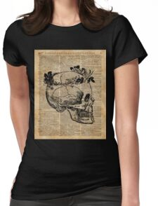Skull in Floral Wreath Ink Drawing Dictionary Art Womens Fitted T-Shirt