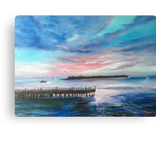Sunset At Sunset Pier Tiki Bar Canvas Print