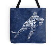 Hockey Languages Typography Tote Bag