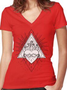 Sacred Heart of Jesus Women's Fitted V-Neck T-Shirt