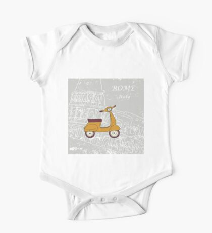 Cute illustration of a vespa scooter One Piece - Short Sleeve
