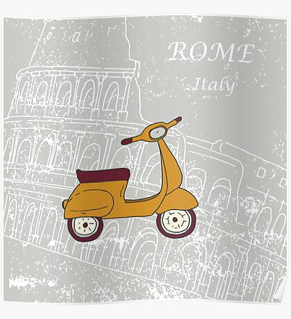 Cute illustration of a vespa scooter Poster
