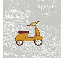 Cute illustration of a vespa scooter Photographic Print