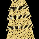 Gold Christmas tree metallic foil effect transparent background by Sandra O'Connor