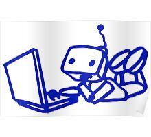 Robot using laptop Poster