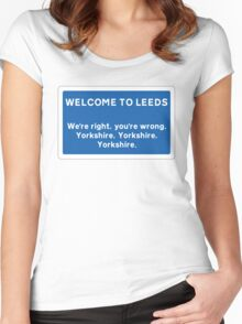 Welcome To Leeds Sign Women's Fitted Scoop T-Shirt