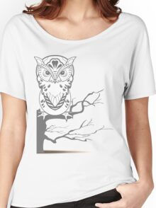 white gray owl Women's Relaxed Fit T-Shirt