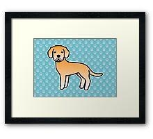 Yellow Labrador Retriever Cartoon Dog Framed Print