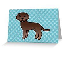 Chocolate Labrador Retriever Cartoon Dog Greeting Card