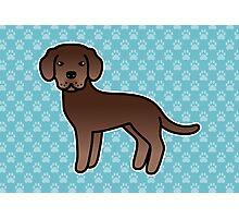 Chocolate Labrador Retriever Cartoon Dog Photographic Print