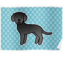 Black Labrador Retriever Cartoon Dog Poster