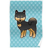 Black And Tan Shiba Inu Dog Cartoon Poster