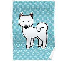 White Shiba Inu Dog Cartoon Poster