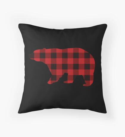 Country Christmas Cottage Primitive lumberjack Buffalo Plaid Bear Throw Pillow
