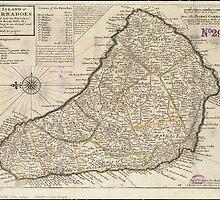Vintage Map of Barbados (1736)  by BravuraMedia