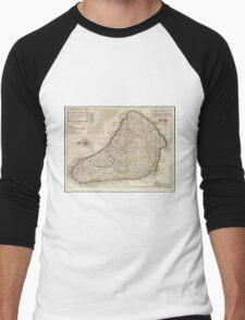 Vintage Map of Barbados (1736)  Men's Baseball ¾ T-Shirt