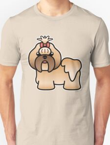 Gold Shih Tzu Cartoon Dog T-Shirt