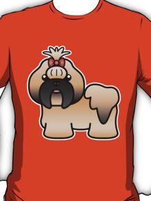 Gold With Black Mask Shih Tzu Cartoon Dog T-Shirt
