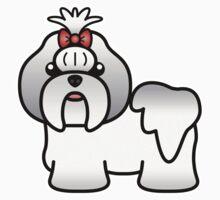 Silver And White Shih Tzu Cartoon Dog Kids Clothes