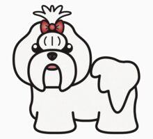 White Shih Tzu Cartoon Dog Kids Clothes