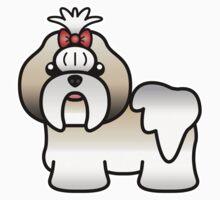 Silver Gold And White Shih Tzu Cartoon Dog Kids Clothes