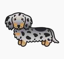 Black And Tan Dapple Long Coat Dachshund Cartoon Dog by destei