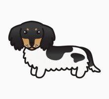 Black And Tan Piebald Long Coat Dachshund Cartoon Dog Kids Clothes