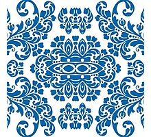 Nautical Damask Pattern swirls Zen blue floral  Photographic Print