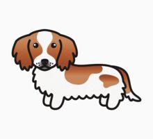 Red Piebald Long Coat Dachshund Cartoon Dog by destei