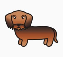Red Sable Wirehaired Dachshud Cartoon Dog Kids Clothes