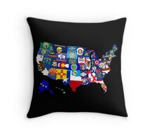 USA State Flags Map Mosaic Throw Pillow