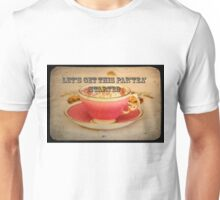 'Lets get this party started' typography on vintage tea cup and saucer photograph Unisex T-Shirt