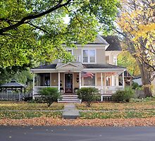 Gracious Old Home in Autumn by Kathleen Brant