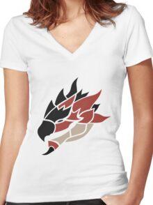 Monster Hunter - Rathalos Head Women's Fitted V-Neck T-Shirt