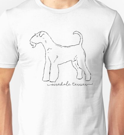Airedale Terrier sketch Unisex T-Shirt