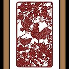 Year of The Rooster Paper Cut Scene by ChineseZodiac