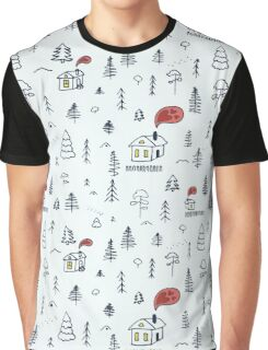 Pattern with winter forest  Graphic T-Shirt