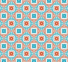 Coral and Teal Diamond Pattern by DebiDalio