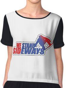 We Stand Sideways - Red, Blue  Chiffon Top