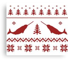 Ugly Narwhal Christmas Sweater Canvas Print