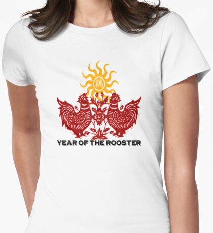 Chinese Zodiac Year of The Rooster Papercut Womens Fitted T-Shirt