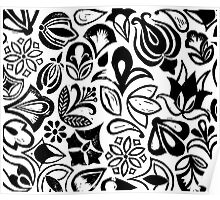 FLOWER GARDEN, floral folksy pattern, Lino cut printed nature inspired hand printed pattern Poster