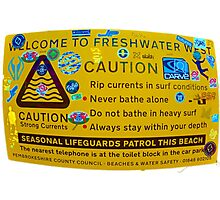 Freshwater West Warning Sign Photographic Print