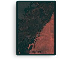 Barcelona Map Red Canvas Print