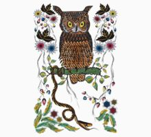 Vibrant Jungle Owl and Snake Kids Clothes